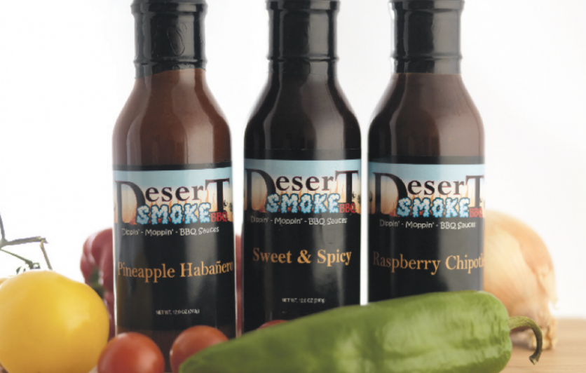 Bottles of Desert Smoke BBQ Sauce
