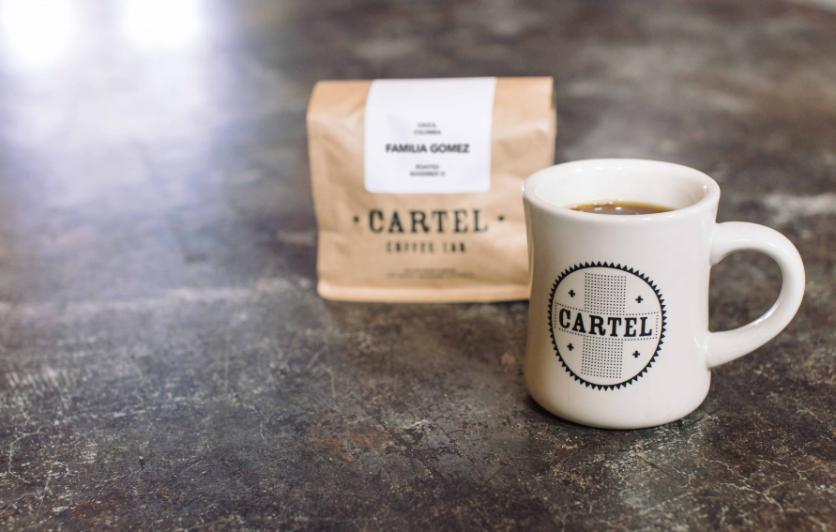 Cartel mug and bag of coffee.