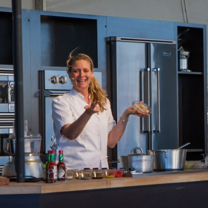 Amanda Freitag at Chipotle Cultivate Demonstrating Shrimp Ceviche Recipe