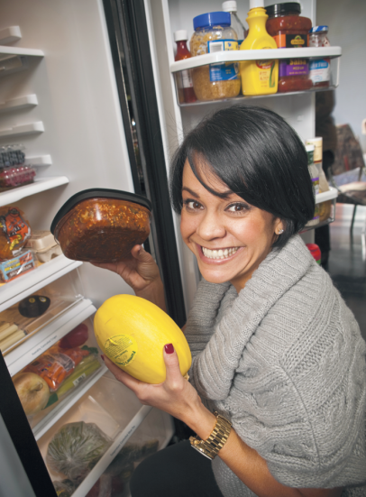 Ali Vincent at her refrigerator