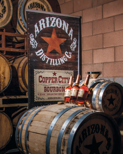 Copper City bourbon barrels at Arizona Distilling