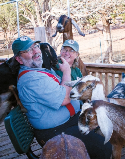 David and Kathryn Heininger with their milk goats at Black Mesa Ranch in Snowflake, AZ