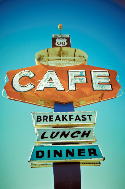 retro cafe sign