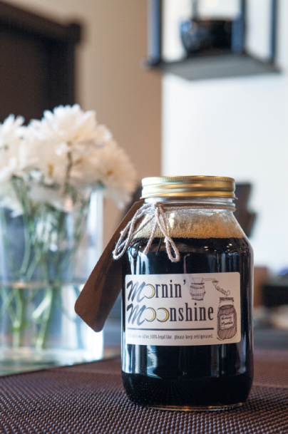 cold brewed coffee in a jar, Mornin' Moonshine company