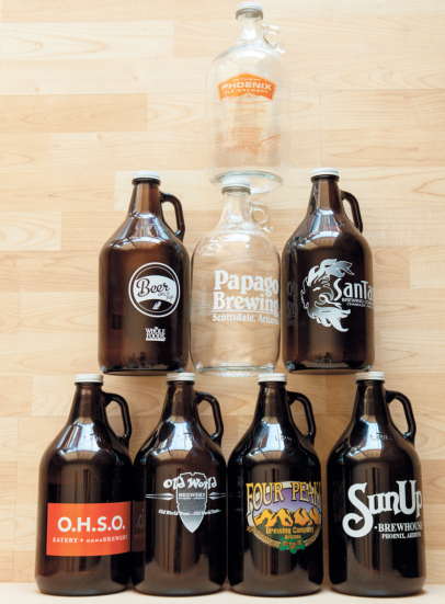 Beer growlers, refillable draft beer containers