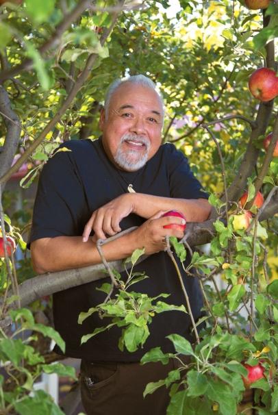 John Samora in his orchard.