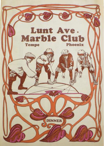Lunt Avenue Marble Club vintage menu book
