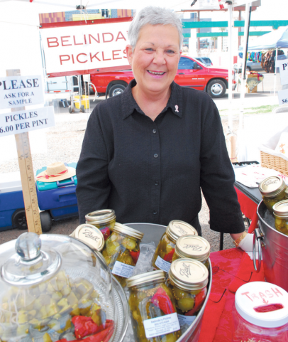 Belinda Powell, The Pickle Lady, sells pickles at market