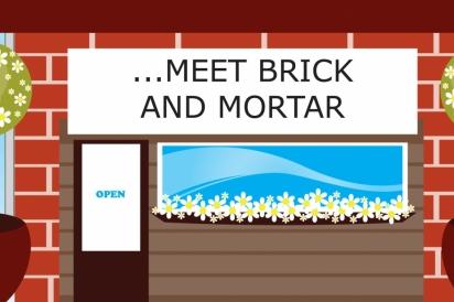Brick and mortar storefront illustration