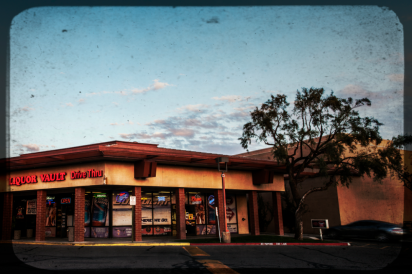 Liquor store at sunset