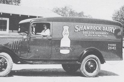 Shamrock Dairy truck, black and white