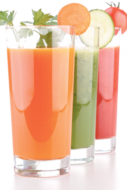 fruit juices with garnishes