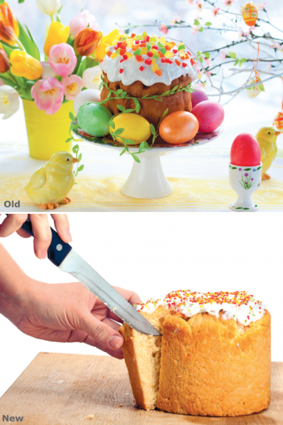 Easter cake with tulips, and cutting a cake