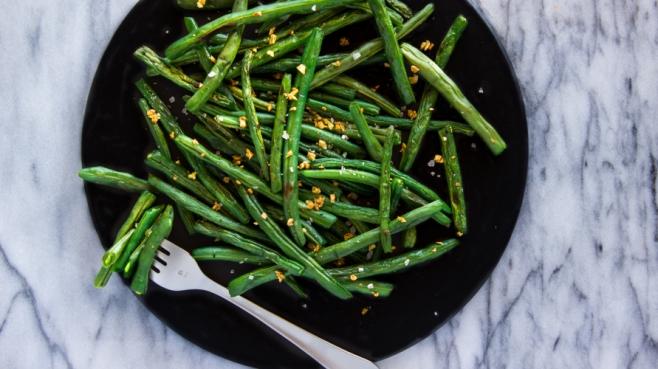 Wrinkled roasted green beans.