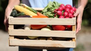 wood carton of fresh vegetables, CSA