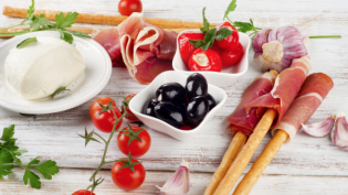 antipasti, olives, ham, breadsticks