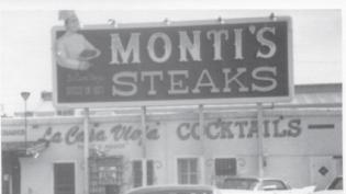black and white photo Monti's Steaks restaurant