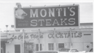 black and white photo Monti's Steaks restaurant