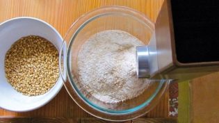 Whole grain wheat ground at home