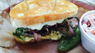 Sage Chimichurri Beef Liver Sandwich with Grilled Onions and Fontina Cheese