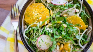 Mix of fennel and spring vegetables in a bowl