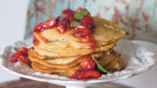 Basil Poppy Seed Flapjacks with Warm Strawberry Basil Compote