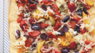 Nicoise Pizza with Olives, Red Peppers and Gruyere