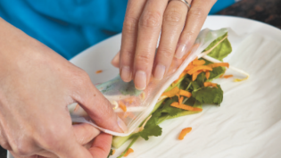 Making Vietnamese Spring Rolls with Peanut Sauce