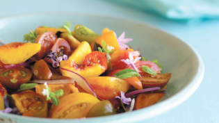 "Heirloom Tomato, Summer Peach and Fresh Herb ""Gazpacho"" Salad"