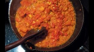 Triple Seared Tomato Sauce in cast iron pan